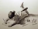 bimba che disegna